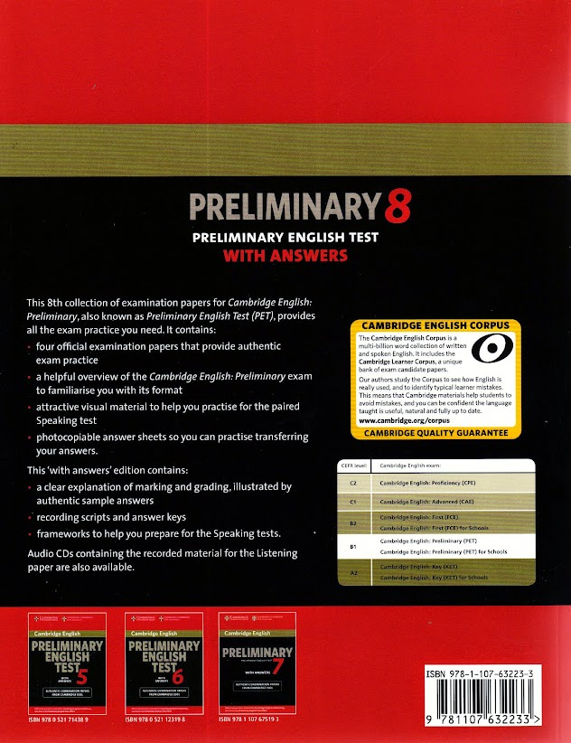 Cambridge Preliminary English Test Pet 8 Book With Answers New Book Only 9781107632233 Ebay