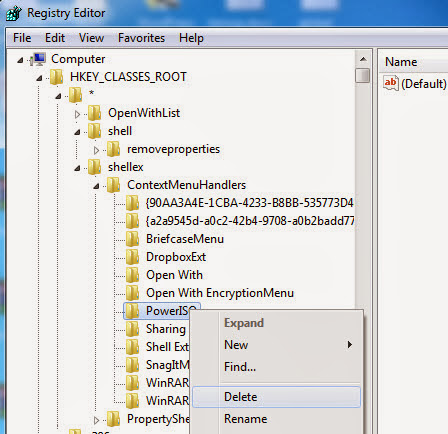 Windows registry editor