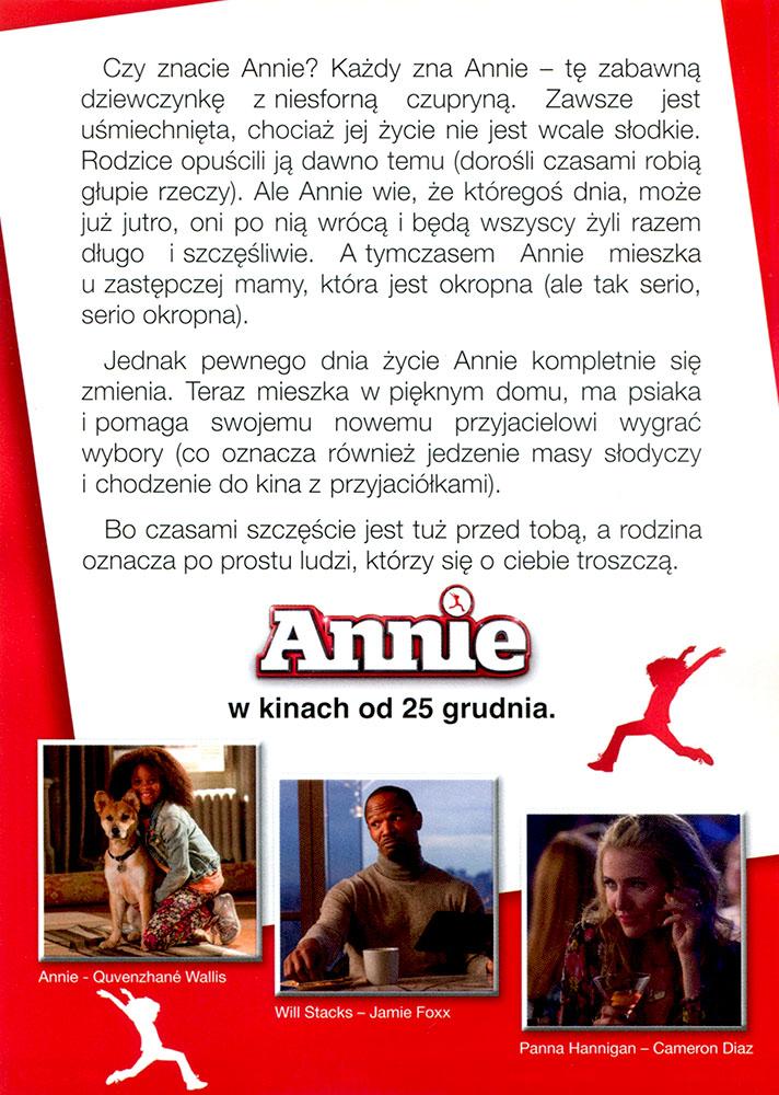 Ulotka filmu 'Annie (tył)'