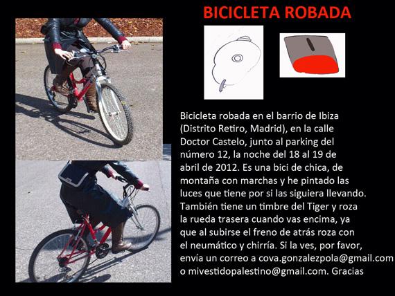 Bici robada en la calle Doctor Castelo (Retiro) - pincha para ampliar