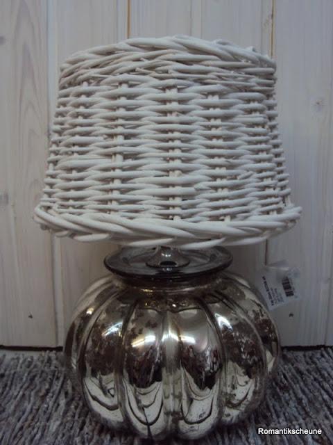 vintage tischleuchte tischlampe bauernsilber rattan wei shabby chic ebay. Black Bedroom Furniture Sets. Home Design Ideas