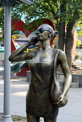 Sculpture of a woman in Skopje Macedonia