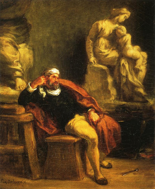Eugène Delacroix - Michelangelo in His Studio