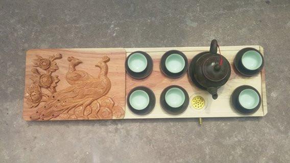 Khay trà cúc công gỗ gõ đỏ - Mẫu KT53