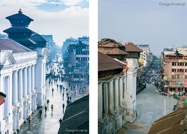 basantapur durbar square earthquake damage nepal