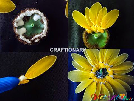 Làm hoa hướng dương bằng vải voan - bước ghép cánh hoa