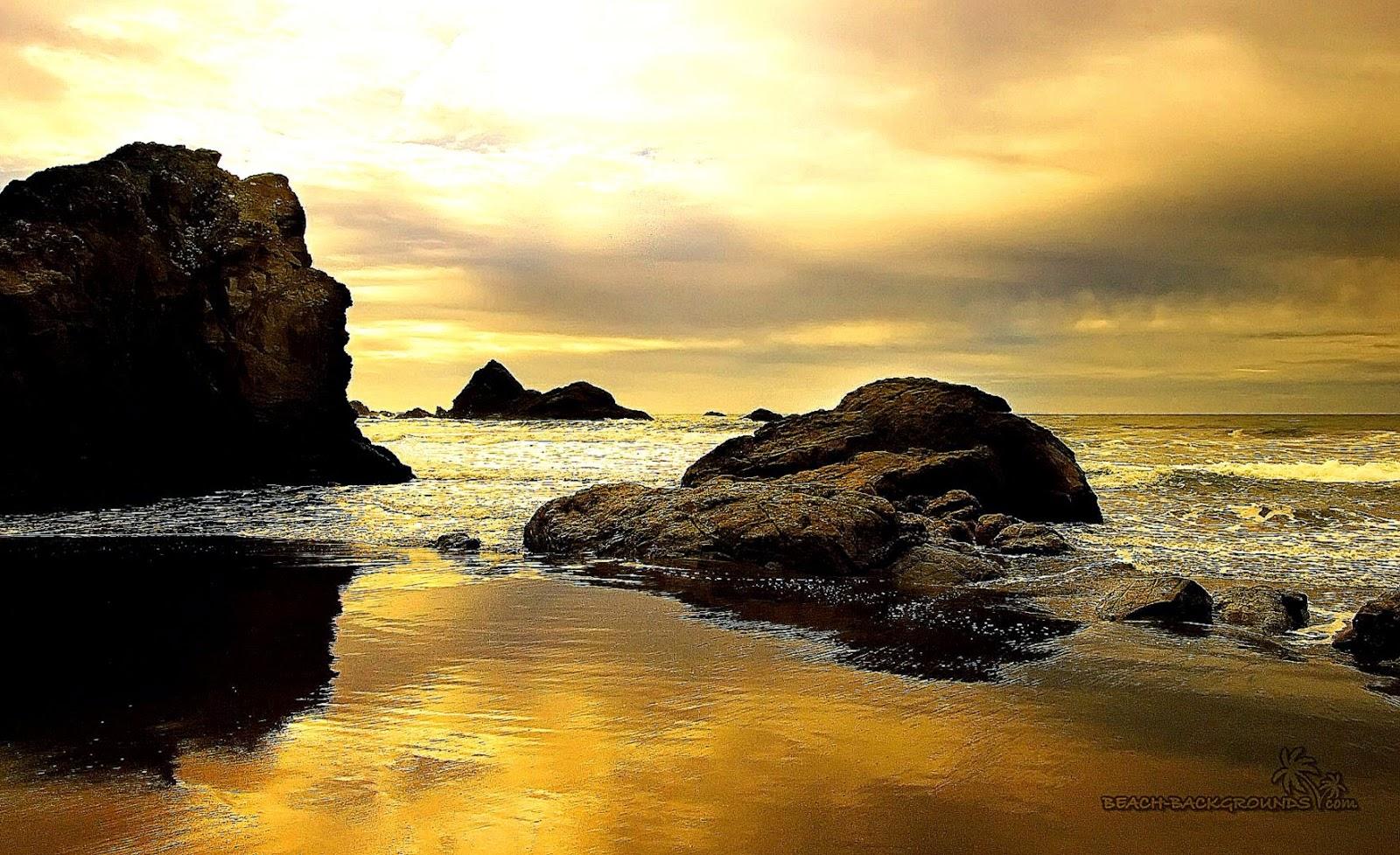 Golden Beach At Sunset Hd Wallpaper