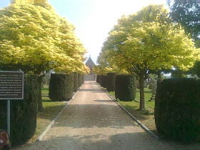 neatly trimmed bushes lining path to cemetery chapel