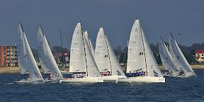 J/70s sailing off Newport, RI