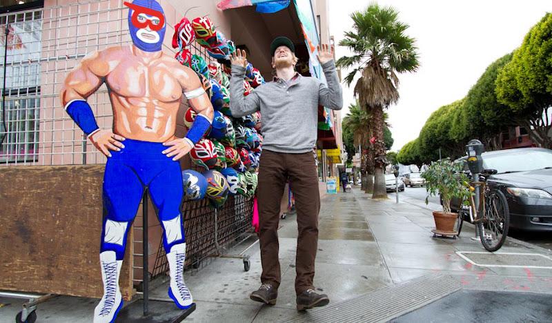Brown Moleskin Pants: Jared next to wrestler