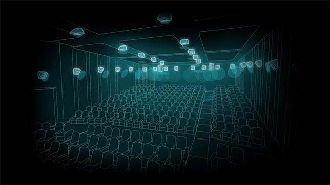 Altavoces en el techo en una sala con Dolby Atmos