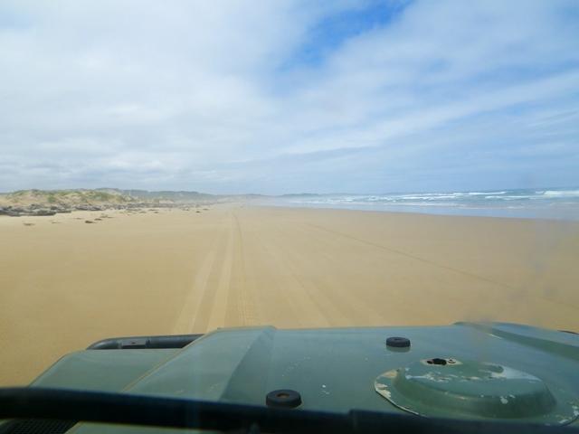 west tasmania driving on the beach