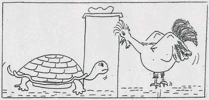 La lotta tra il gallo e la tartaruga: la lotta tra la luce e le tenebre