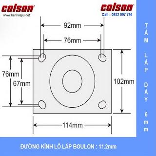 Kích thước mặt bích bánh xe đẩy coa su chịu lực Colson Mỹ