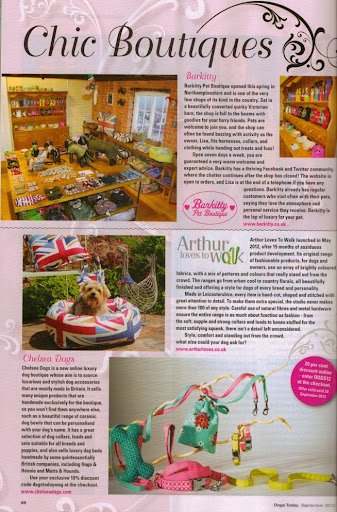 Chelsea Dogs in Dogs Today Magazine Chic Boutiques Feature September 2012