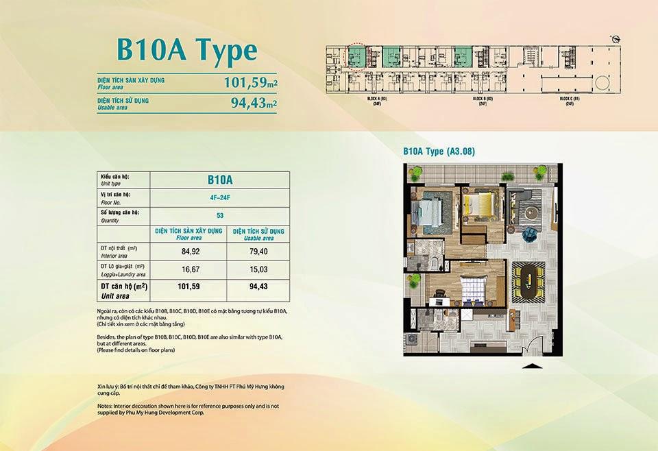 Căn hộ Scenic Valley Phú Mỹ Hưng, kiểu B10A, 101.59m2 có thiết kế 3 phòng ngủ