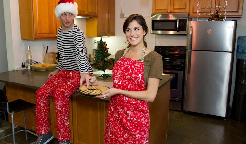 Nauseating Apron Matt steals cookies from Julia
