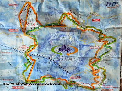na zdjeciu mapa tras Sella Ronda