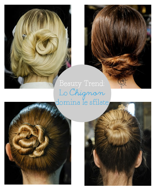 Beauty trend da Vogue.com lo chignon domina le sfilate come fare lo chignon how to made chignon, stella mc cartney, rick owens, dolce & gabbana, chloè.