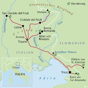 Friaul, Wanderstudienreise, Heideker Reisen, Villa di Tissano, Dr. Christoph Ulmer, Matajur, St. KanzianTriest, Cividale, San Daniele