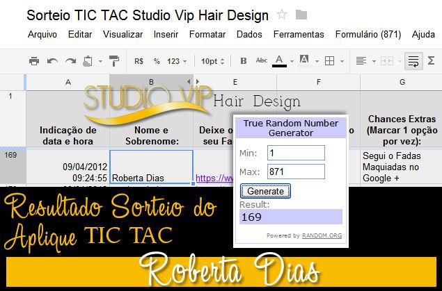 Resultado Sorteio Studio Vip Hair Design