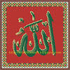 Cross stitched Allah (Red BG)