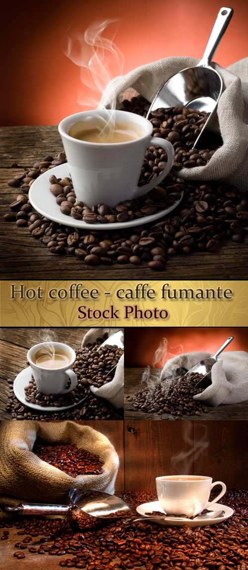 Stock Photo: Hot coffee - caffe fumante