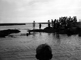 1968 cheviot beach Harold Holt Memorial plaque service - placeing of the plaque under the water by the Underwaters Explorers Club of Victoria - Mum ( Vivienne Ryan ) carried the wreaths into the water - Dad ( Trevor Ryan ) was one of the skin divers in the water
