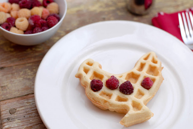 rooster shaped waffle with berries