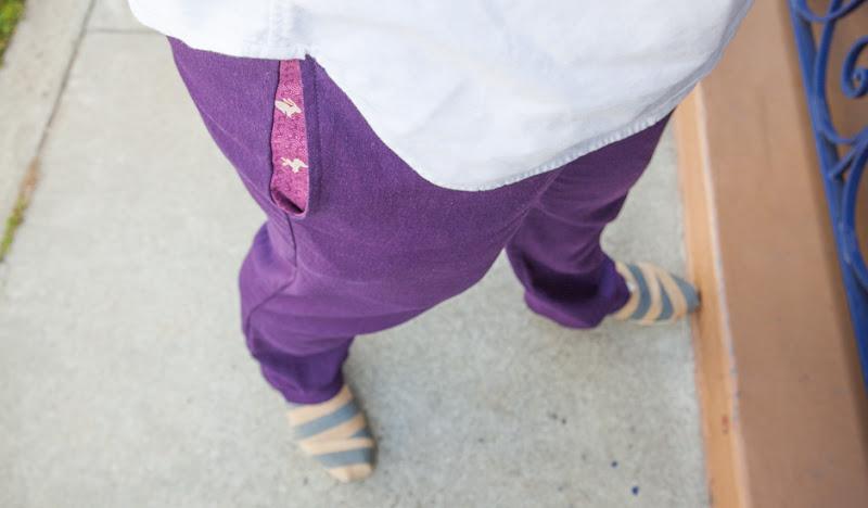 Plum Linen Karate Casual Pocket Detail