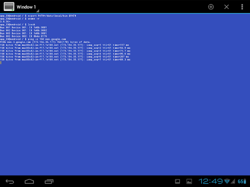 Android Terminal Emulator - ping