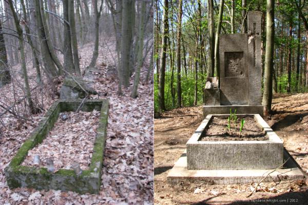 Nagrobek przed i po renowacji