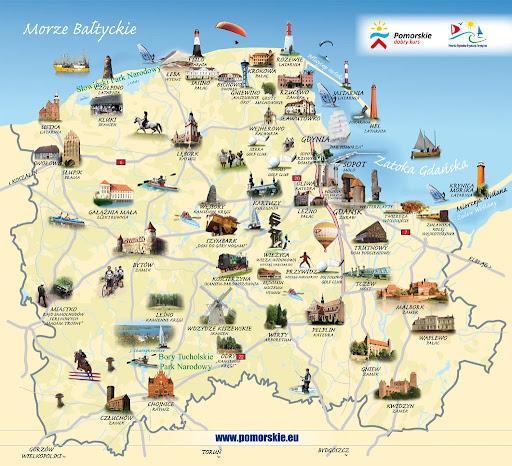 波蘭Pomorskie省旅遊示意地圖
