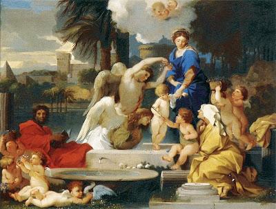 Sébastien Bourdon - The Holy Family with St Elizabeth and the Infant St John the Baptist