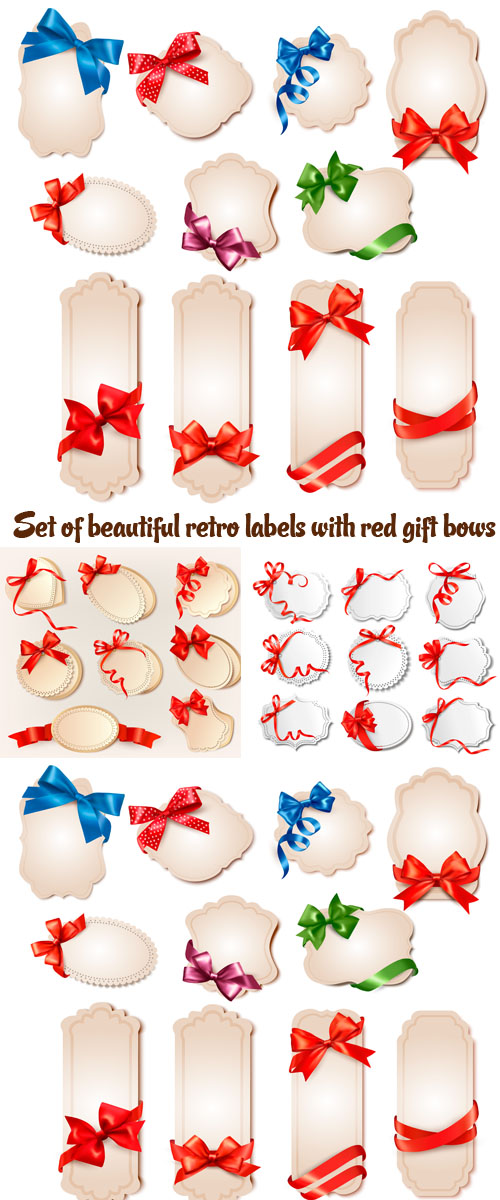 Stock: Set of beautiful retro labels with red gift bows