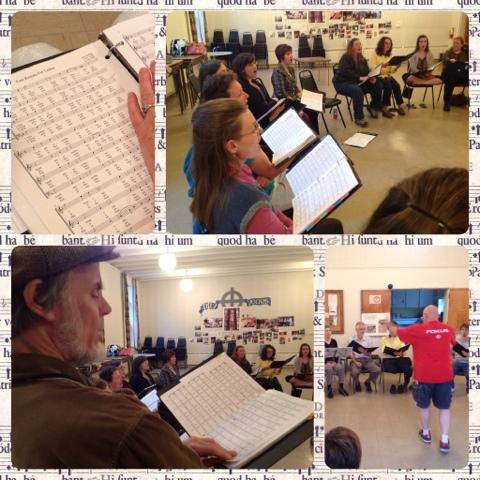 Stairwell Caroller Choir practice collage