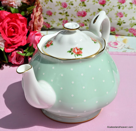 Pink Roses on Green Polka Dot China 2 Pint Teapot