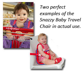 Snazzy Baby Deluxe Travel Chair in use - Click here to buy