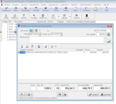 Facturas de proveedores - AjpdSoft Gestión Integral