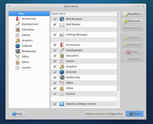 Xubuntu 12.10 Quantal - editor menu