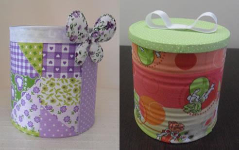 Zona de manualidades: lata reciclado decorada con tela