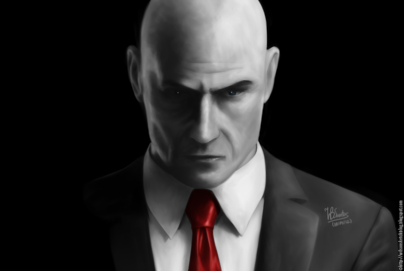 Digital Painting of Agent 47 from Hitman Absolution video game