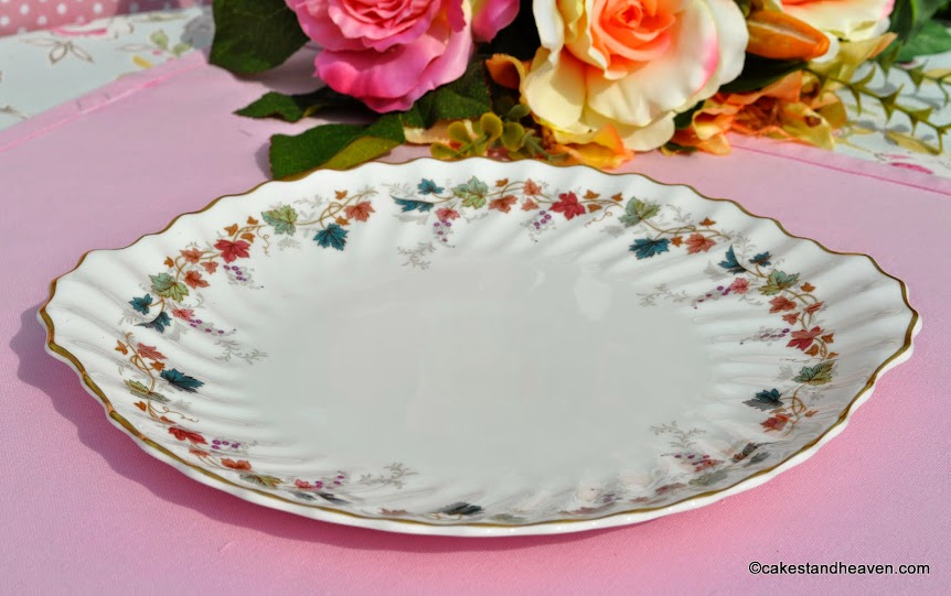 Canterbury pattern vintage china cake plate