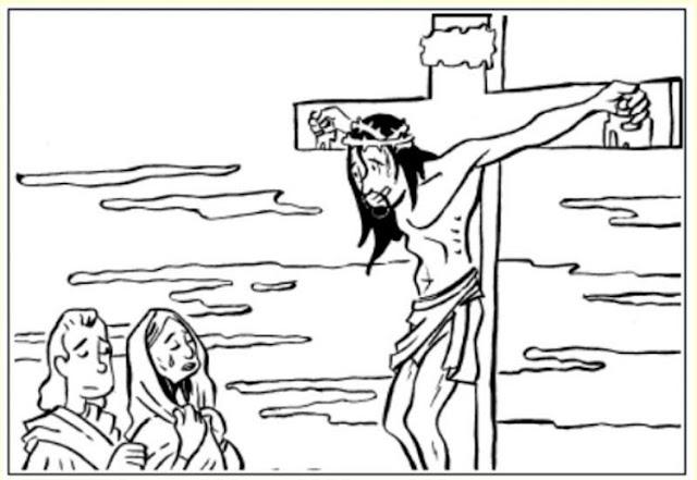 Jesús en la cruz habla con María para colorear