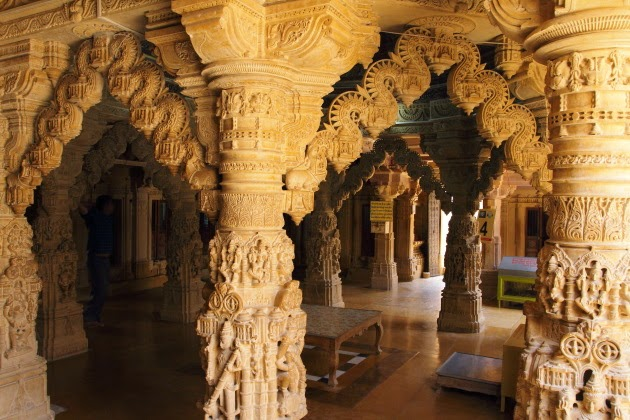 Intricate work inside the Jain temple of Jaisalmer