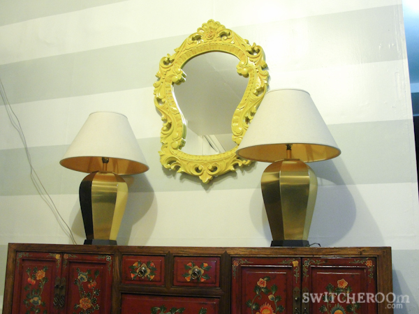 diy lamp, spray painted lamp, turquoise lamp, brass lamp, oriental console, yellow mirror