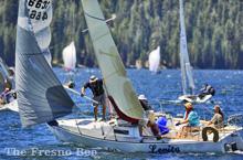 J/27 sailboat- sailing the High Sierra Regatta in California