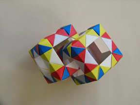 Interlocked Cubes Using Open Frame I Bow Tie Motif Units From
