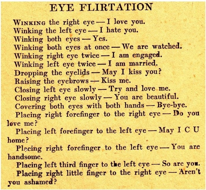 Eye Flirtation Guide, Winking, Covering, Closing etc
