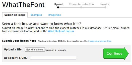 Enviando arquivo para o WhatTheFont!